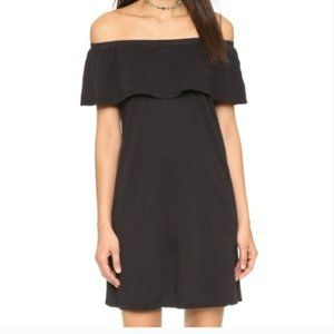 Black 100% cotton off shoulder mini dress PERF! XS